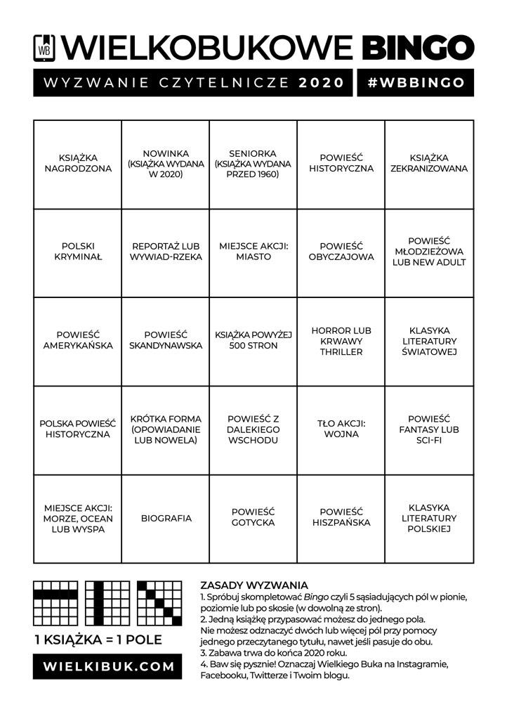 Wyzwanie czytelnicze 2020 - Wielkobukowe Bingo