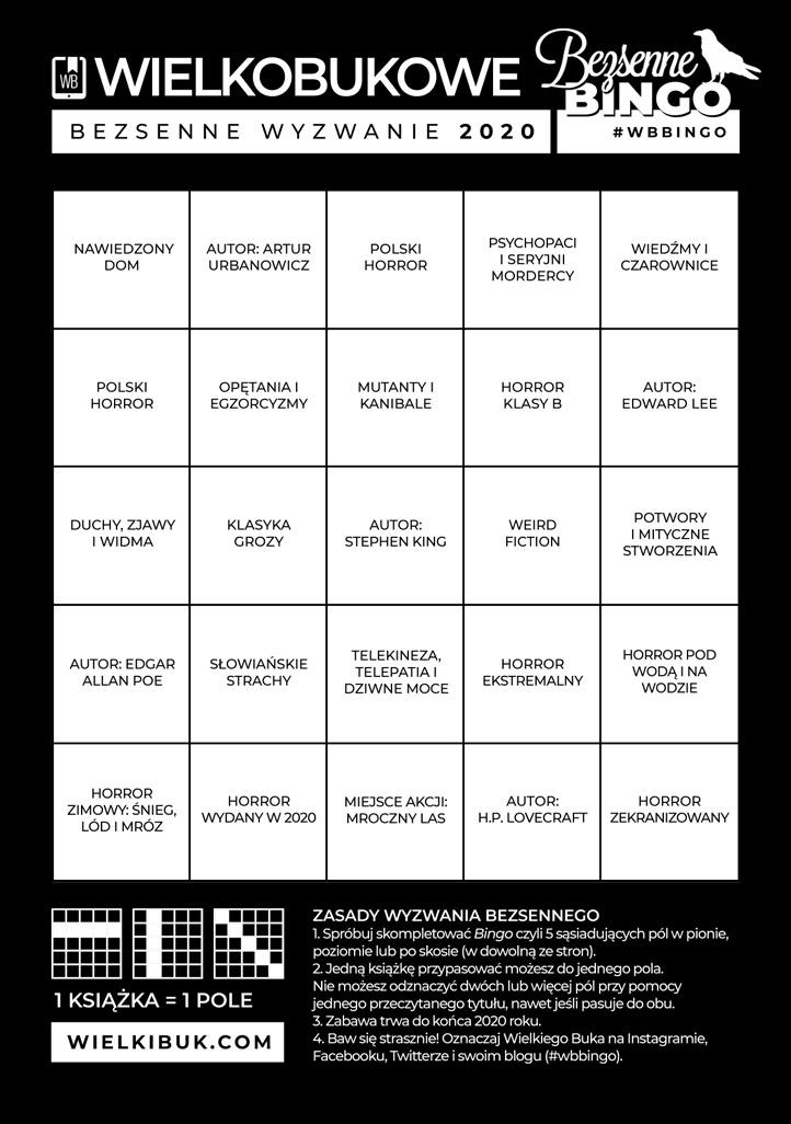 Wyzwanie Czytelnicze - Bezsenne Bingo (#Horror #Groza)