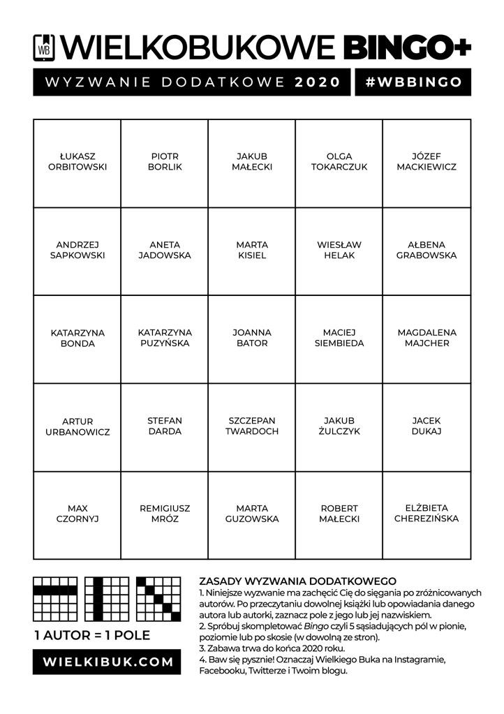 Wyzwanie czytelnicze 2020 - Wielkobukowe Bingo Uzupełniające (Czytajmy Polskich Autorów)